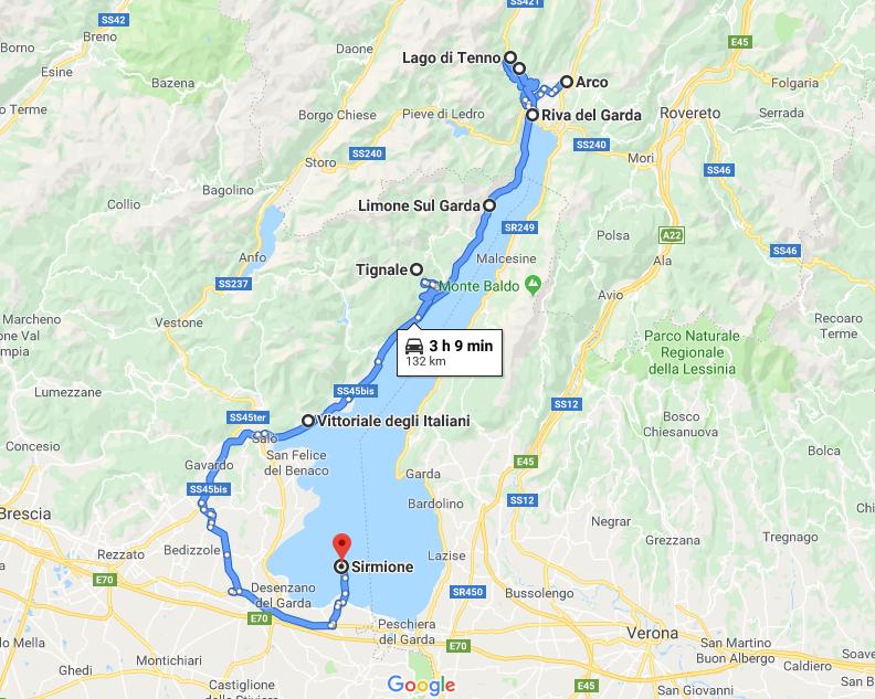 Itinerario lungo il lago di Garda