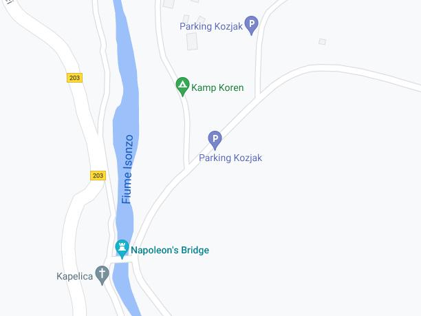 Mappa dei parcheggi per visitare la Slap Kozjak